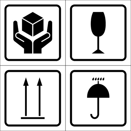handles: Packaging symbols in a squares. Fragile icon, Keep dry icon, This side up icon, Handle with care icon. Fragile cardboard black signs isolated on a white background. Stock illustration