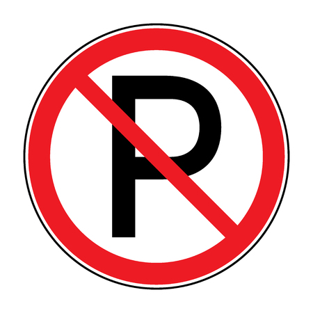 no parking sign: No parking sign. Road icon with letter P in a red crossed circle isolated on a white background. Warning traffic sign. Stock illustration. You can change color and size