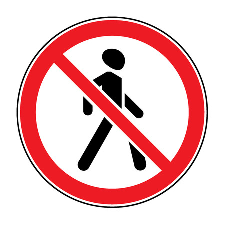 pedestrian sign: Prohibition No Pedestrian Sign. No walking traffic sign. No crossing. Prohibited signs silhouette of walking man isolated on white background. Stock illustration, you can change color and size