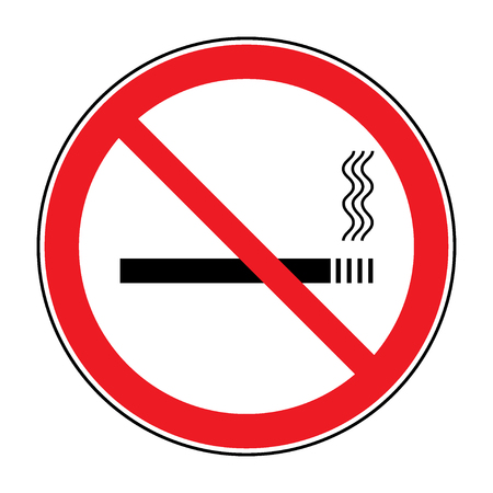 pernicious habit: No smoking sign. Icon showing no smoking is allowed. Red round no smoking sign. Smoking prohibited symbol isolated on white background. Stock Illustration. You can change color and size