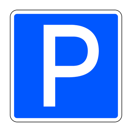road sign with letter p in the blue square isolated on a white