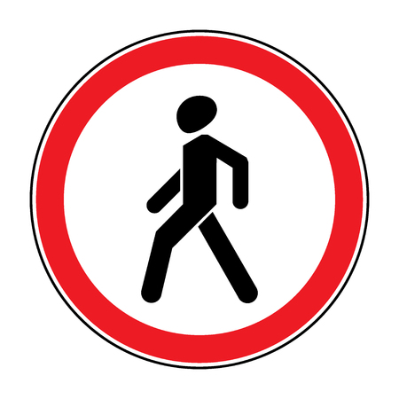 pedestrian sign: Prohibition No Pedestrian Sign. No walking traffic sign. No crossing. Prohibited signs silhouette of walking man in a red circle, isolated on white background. Editable stock illustration Stock Photo