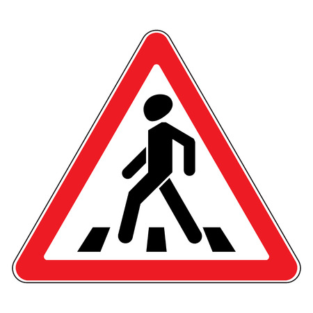 zebra crossing: Traffic sign pedestrian crossing. Traffic sign zebra crossing. Illustration of triangular warning sign for pedestrian crossing. Stock Stock Photo