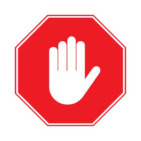 signos de precaucion: Se�al de stop. No hay entrada. Muestra de la mano aisladas sobre fondo blanco. parada octagonal Red. Muestra de la mano de las actividades prohibidas. Ilustraci�n - simplemente puede cambiar de color y tama�o Foto de archivo