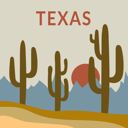 arizona sunset: Texas Typography Graphics. Fashion stylish printing design for sportswear apparel. Western Desert Landscape Sunrise with cactus, sun, mountains. Concept in modern style for print production.