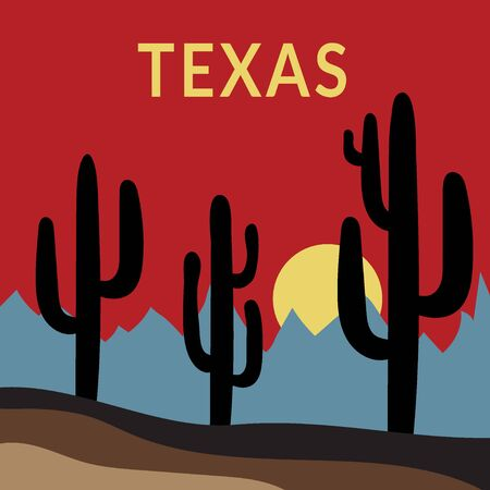 prickle: Texas Typography Graphics. Fashion stylish printing design for sportswear apparel. Western Desert Landscape Sunset with cactus, sun, mountains. Concept in modern style for print production.