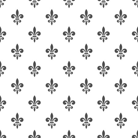 Seamless pattern with fleur-de-lis on a white background.