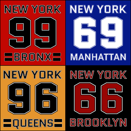 districts: New York districts basketball Typography.