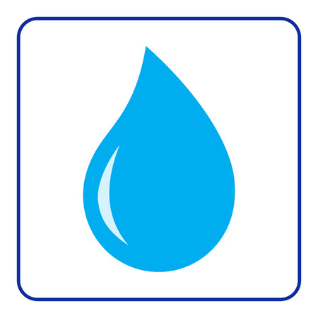 rain drop: Blue water drop icon. Concept Save the Planet.