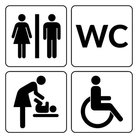 WC signs set.