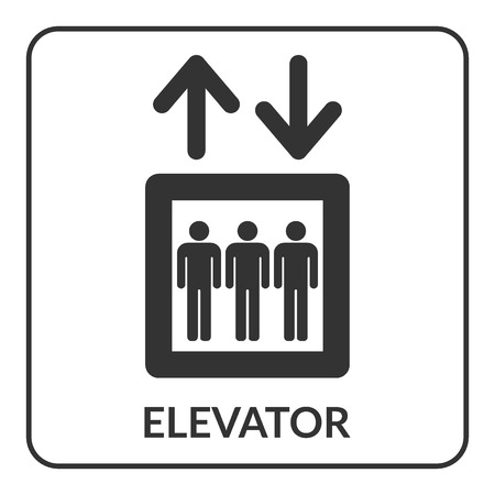 general warning: Elevator icon. Lift symbol. Stairs up and down. Gray icon with arrow and man isolated on white background. Flat style concept. Warning information sign. Button search direction. Vector illustration