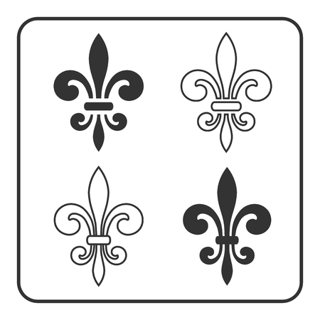 lilies: Fleur de Lis symbol set. Fleur-de-Lis sign. Royal french lily. Heraldic icon for design, logo, decoration. Elegant flower outline design. Gray element isolated on white background. Vector illustration