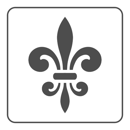 lys: Fleur de Lis symbol. Fleur-de-Lis sign. Royal french lily. Heraldic icon for design, logo or decoration. Elegant flower outline design. Gray element isolated on white background. Vector illustration