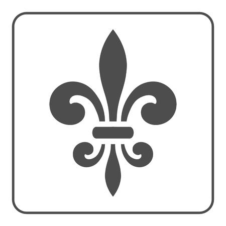 Fleur de Lis symbol. Fleur-de-Lis sign. Royal french lily. Heraldic icon for design, logo or decoration. Elegant flower outline design. Gray element isolated on white background. Vector illustration