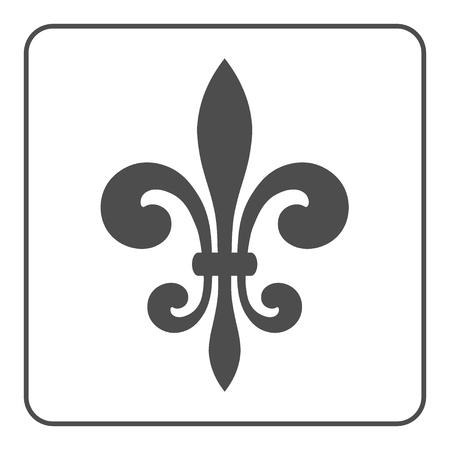 symbol fleur de lis: Fleur de Lis symbol. Fleur-de-Lis sign. Royal french lily. Heraldic icon for design, logo or decoration. Elegant flower outline design. Gray element isolated on white background. Vector illustration