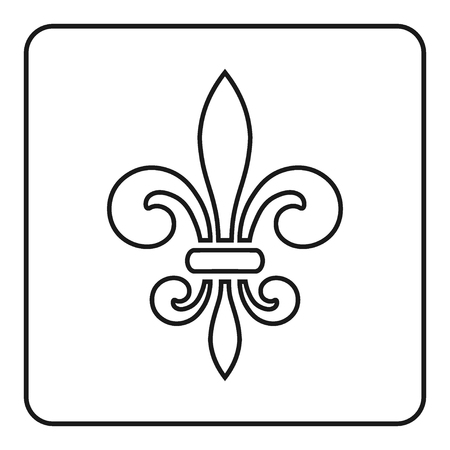Fleur de Lis symbol. Fleur-de-Lis sign. Royal french lily. Heraldic icon for design, logo or decoration. Elegant flower outline design. Gray element isolated on white background. Vector illustration Stock Vector - 49946808