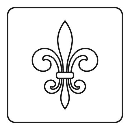 fleurdelis: Fleur de Lis symbol. Fleur-de-Lis sign. Royal french lily. Heraldic icon for design, logo or decoration. Elegant flower outline design. Gray element isolated on white background. Vector illustration