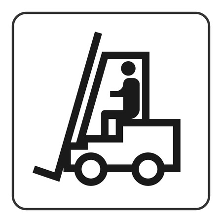 Forklift truck sign. Black lift-truck icon with the silhouette of a man emblem isolated in square on white background. Symbol of logistic, delivery, industrial, transport of goods. Vector illustration