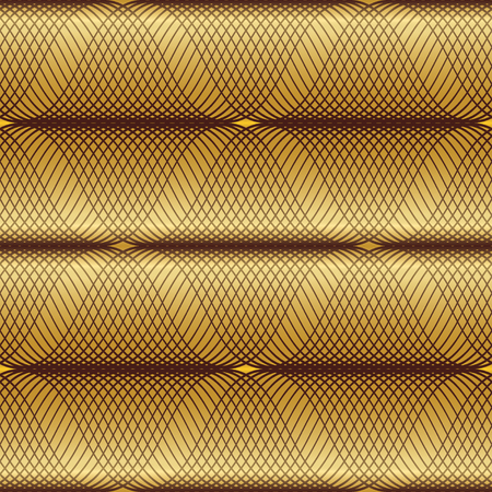 wave pattern: Gold seamless geometric pattern. Wave fashion graphics background art. Abstract modern stylish texture. Golden wavy illustration. Design style for prints, textiles, wrapping, wallpaper, etc. VECTOR Illustration