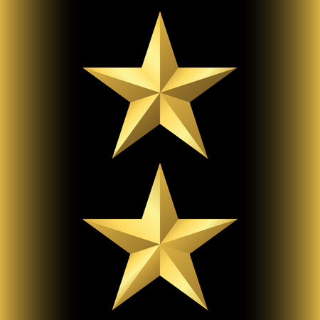golden star: Gold star icon set. Pentagonal sign with gradient. Elegant symbol of achievements, victories. Design element for your logo, Product quality rating etc isolated on black background. Vector illustration