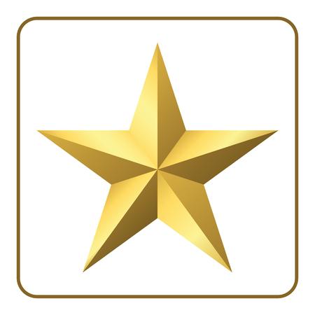 lucero: icono de la estrella del oro. signo pentagonal con degradado. elegante símbolo de los logros y victorias. Elemento de diseño para su logo, calificación de calidad del producto, etc aislado en el fondo blanco. ilustración vectorial