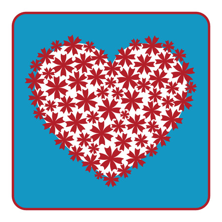 spring flower: Heart floral design. Beautiful red sign with flowers on blue background. Symbol of love and happiness. Vintage printing for valentine day, wedding card. Decorative element graphic. VECTOR illustration