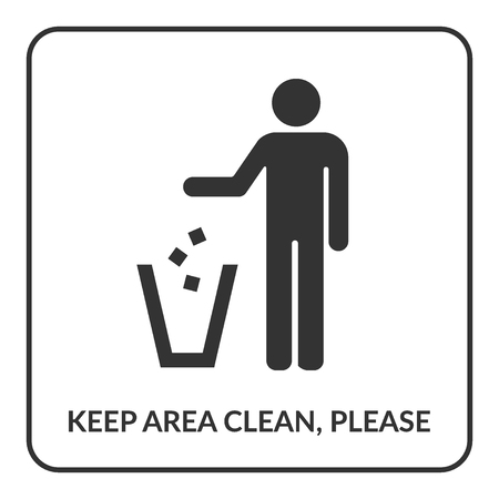 keep in: Keep clean icon. Do not litter sign. Silhouette of a man, throwing garbage in a bin, isolated on white background. No littering symbol in square. Public Information Icon. Stock vector illustration