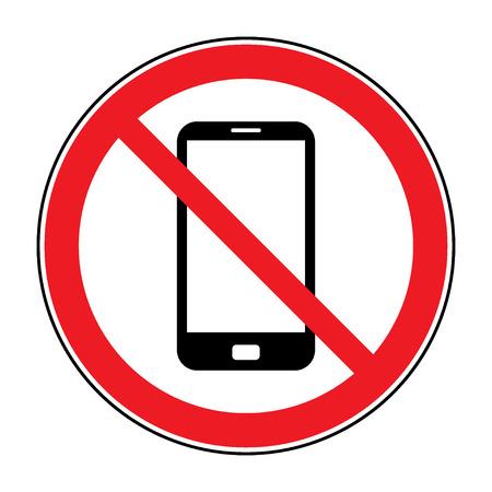 Ninguna señal de teléfono celular. Teléfono móvil volumen del timbre signo mudo. Sin teléfono inteligente permitió icono. Sin etiqueta de llamada en el fondo blanco. No emblema Teléfono grandes para cualquier uso. Ilustración común del vector