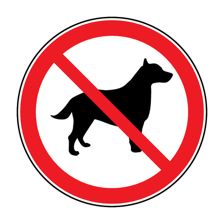 entrance is forbidden: No dog Sign. Print with prohibition symbol. With pet no access. Round icon no allowed. Black silhouette isolated on white background. Stop emblem. Stock Vector illustration Illustration
