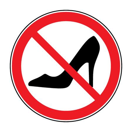 tacones: No zapatos de tac�n alto se�al de advertencia. Prohibido icono de informaci�n p�blica. No se permite la mujer s�mbolo zapato. Deja de etiqueta. Mujer de calzado en redondo rojo aislado en el fondo blanco. Vector ilustraci�n stock.