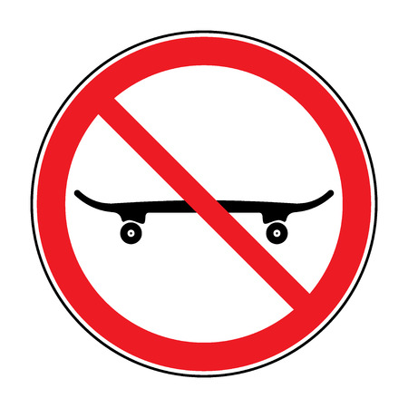 banned: No skateboarding icon. Skateboard is not allowed sign. Symbol depicting banned activities. Prohibited public information icon. Stop label in red round isolated on white background Vector illustration