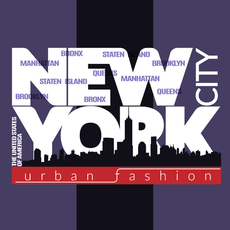 bronx: New York city Typography Graphics. Fashion stylish printing design for sportswear apparel. NYC original wear. Concept in modern graphic style for print production. Skyline of Manhattan. Vector