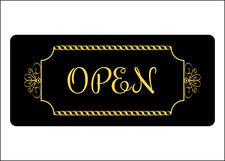 informative: Open Sign. Effect of gold. Print with allowing symbol for store, shop, cafe, hotel, business office, etc. Informative icon. Entrance signboard isolated on white background. Stock Vector illustration