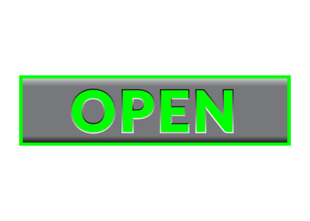 allowing: Open Sign Neon. Bright Print with allowing symbol for store, shop, cafe, hotel, business, etc. Illuminated rectangular icon. Entrance color signboard isolated on white background. Vector illustration Illustration