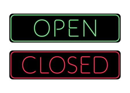 Open and Closed door neon Sign. Print with light symbol for store, shop, cafe, hotel, office. Information icon. Bright green and red signboard isolated on white background. Stock Vector illustration