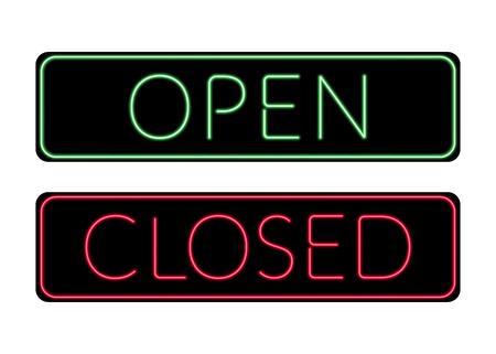 Open en Gesloten deur neon Sign. Afdrukken met licht symbool voor opslag, winkel, café, hotel, kantoor. Informatie icoon. Helder groen en rood bord op een witte achtergrond. Stock Vector illustratie Stockfoto - 49947569