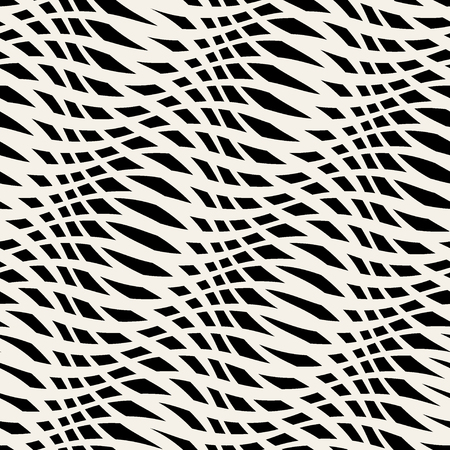 wavy fabric: Wavy crossed stripes seamless pattern 3D. Abstract fashion texture. Geometric monochrome template. Graphic style for wallpaper, wrapping, fabric, background, apparel, prints, website etc. Vector
