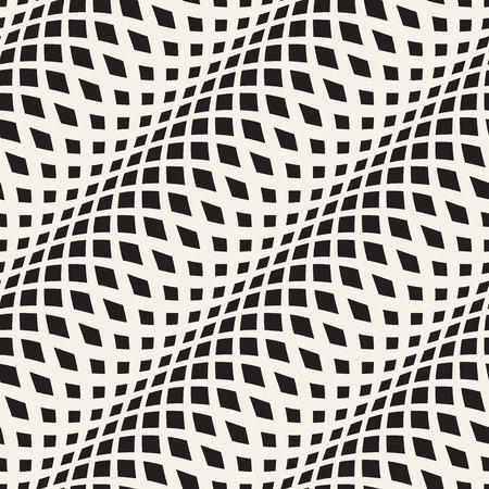 rallas: Ondulado cruzado rayas patrón transparente 3D. Textura abstracta de la moda. Plantilla blanco y negro geométrico. estilo gráfico para el papel pintado, envoltura, tela, fondo, ropa, impresiones, sitio web, etc vector
