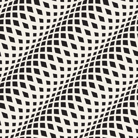 stripes: Wavy crossed stripes seamless pattern 3D. Abstract fashion texture. Geometric monochrome template. Graphic style for wallpaper, wrapping, fabric, background, apparel, prints, website etc. Vector