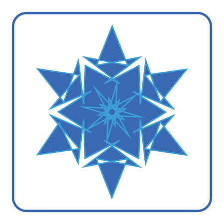 snowflake icon: Snowflake icon. Blue sign. Abstract decorative element. Fashionable symbol of winter, ice, cold isolated on white background. Beautiful fashion printing design for print products. Vector illustration Illustration