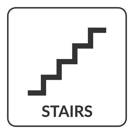 Stairs sign. Flat vector web icon isolated on white background. Warning public information staircase black symbol. Stairway label. Design element. Stock vector illustration