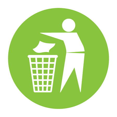 garbage: Keep clean icon. Do not litter sign. Silhouette of a man in the green circle, throwing garbage in a bin, isolated on white background. No littering symbol. Public Information Icon. Vector illustration