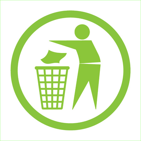 clean: Keep clean icon. Do not litter sign. Silhouette of a man in the green circle, throwing garbage in a bin, isolated on white background. No littering symbol. Public Information Icon. Vector illustration