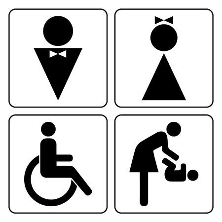 화장실 징후가 설정됩니다. 남자, 여자, 아기와 함께 어머니와 흰색 배경에 고립 된 장애인 된 실루엣. 남성과 여성 화장실 도어 아이콘입니다. 레이디 일러스트