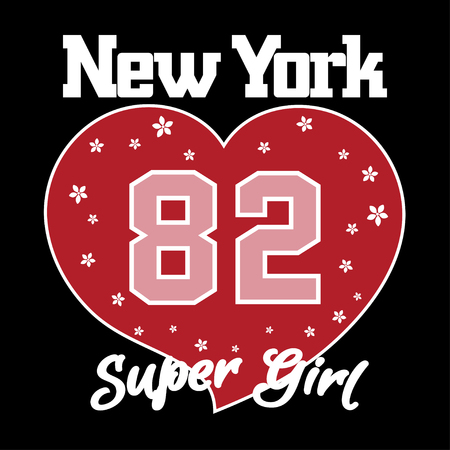 vintage fashion: New York City Typography Graphics. Woman T-shirt Printing Design with big heart, flowers. NYC original wear. Fashion Print for sportswear apparel. Concept in vintage style for print production.