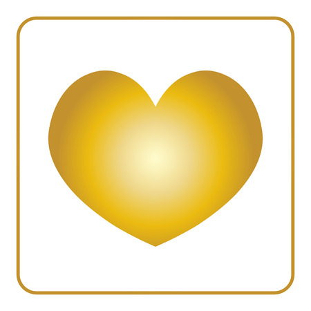 Heart Icon Golden Sign Isolated On White Background Symbol