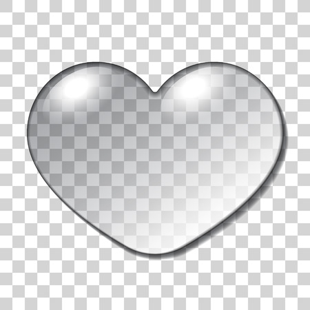 Water Heart Drop. Realistic macro sign isolated on Transparent Background. Nature  Symbol of love, happiness, health. Gel fashion printing design for Valentine day or wedding card.  Illustration