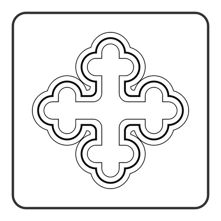irish easter: Cross icon. Traditional religion ornate symbol. Black silhouette sign isolated on White background. Monochrome design element. Religion concept for different projects. Stock Vector illustration Illustration