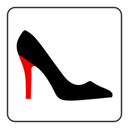 high heel: High heel shoes icon. Elegant black  and red silhouette. Information sign. Women shoe symbol. Fashion label. Female of shoe in square isolated on white background. Stock Vector illustration.