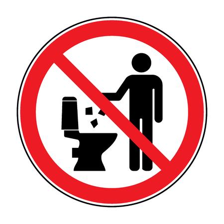 Mülle nicht in der Toilette Symbol. Halten Sie sauber Zeichen. Silhouette eines Mannes, werfen Müll in einen Behälter, in Kreis auf weißem Hintergrund. Kein Littering Warnsymbol. Allgemein zugängliche Information. Vektor-Illustration